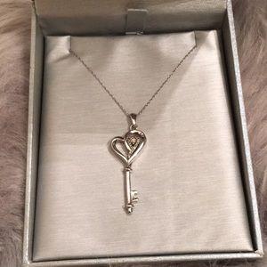 Zales Diamond Key Pendant Necklace
